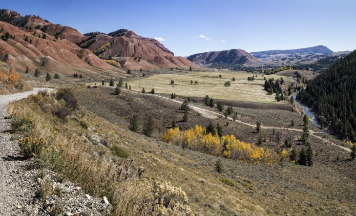If you drive east on Gros Ventre Road in Grand Teton National Park you eventually encounter these red hills.